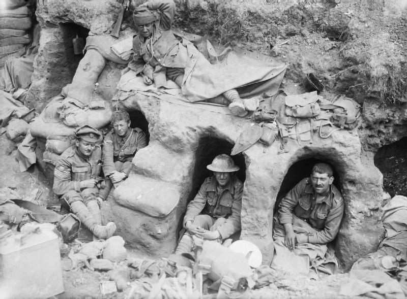 Border_Regiment_men_in_dugouts_Battle_of_the_Somme_August_1916_IWM_Q_872